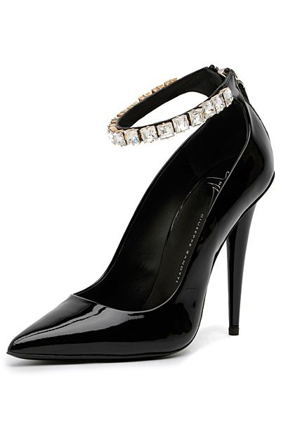 Giuseppe Zanotti Black Patent Leather Crystal Ankle Strap Pump Fall 2013