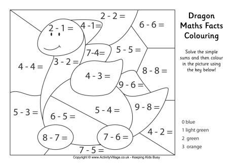 Dragon Maths Facts Colouring Page (med bilder