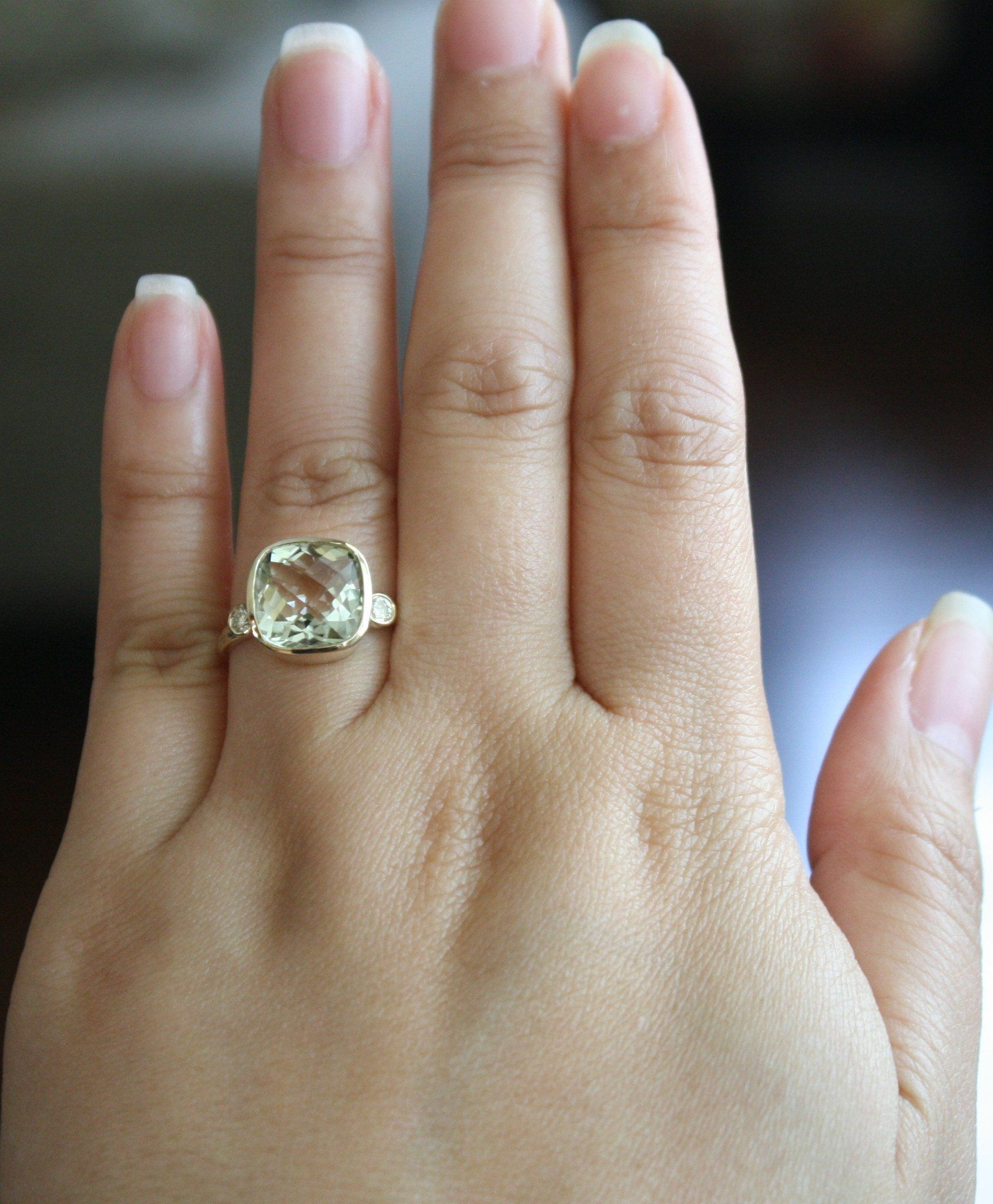 3 Stone Green Amethyst Bezel And Diamond Ring In 14k Yellow Gold Amethyst Ring Engagement Pink Diamonds Engagement Antique Diamond Engagement Rings