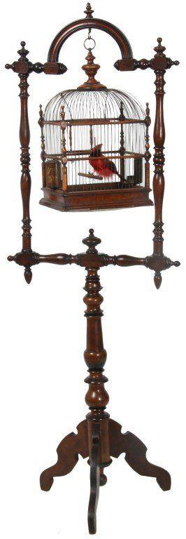 Victorian Walnut Birdcage & Stand