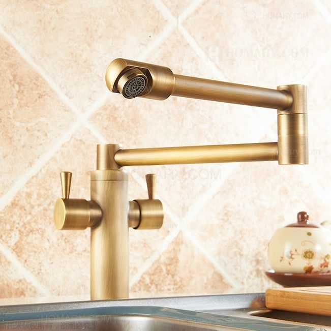 Foldable Single Hole Double Handle Kitchen Faucet In Antique Brass