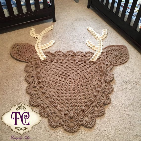 Crochet Deer Rug Ready To Ship By Tcsimplychic On Etsy Crochet Deer Crochet For Boys Crochet Blanket Girl