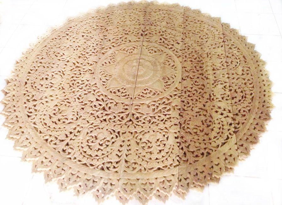 round king bed headboard 72 6ft lotus flower mandala wooden hand craved carving teak wood - Kopfteil Plant Knig