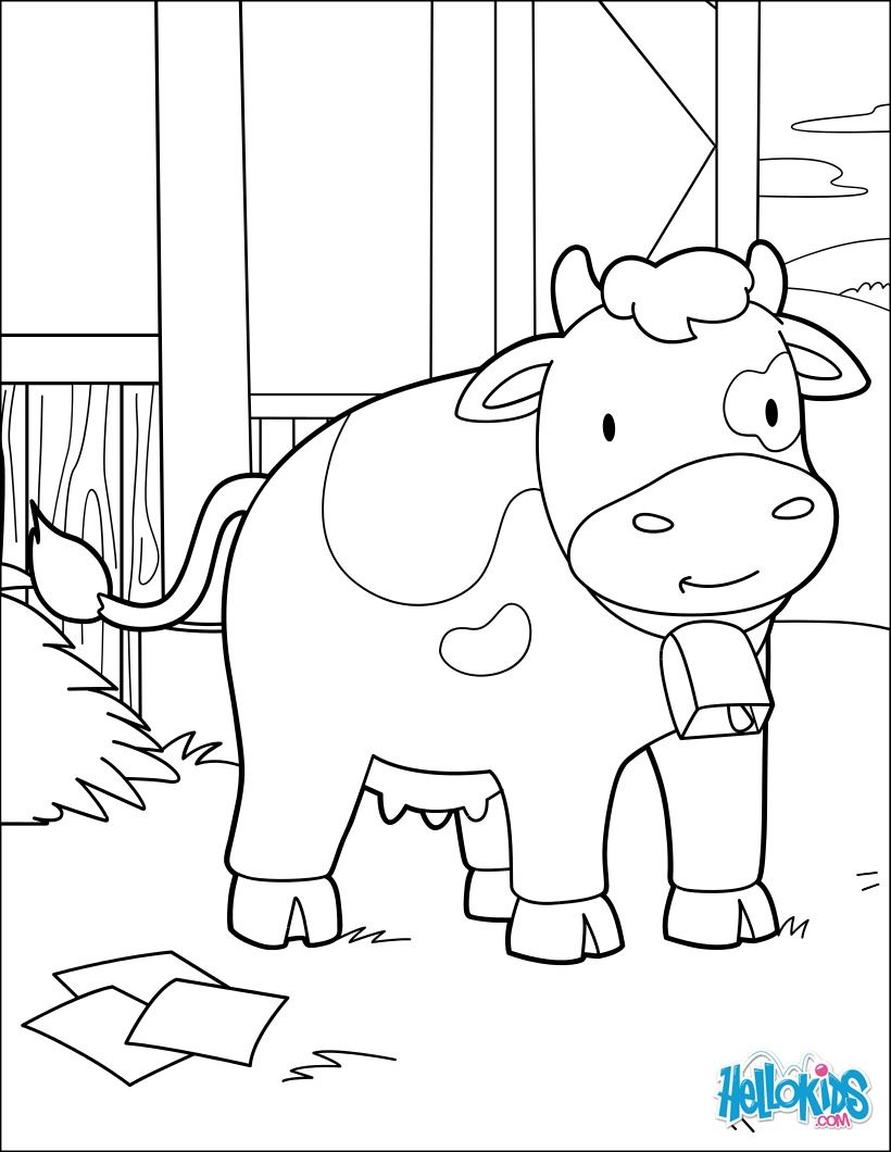 Cow At The Barn coloring page. Cute and amazing farm animals ...