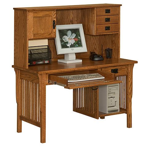 Amish Made Solid Wood Meadowbrook Computer Desk & Optional Top