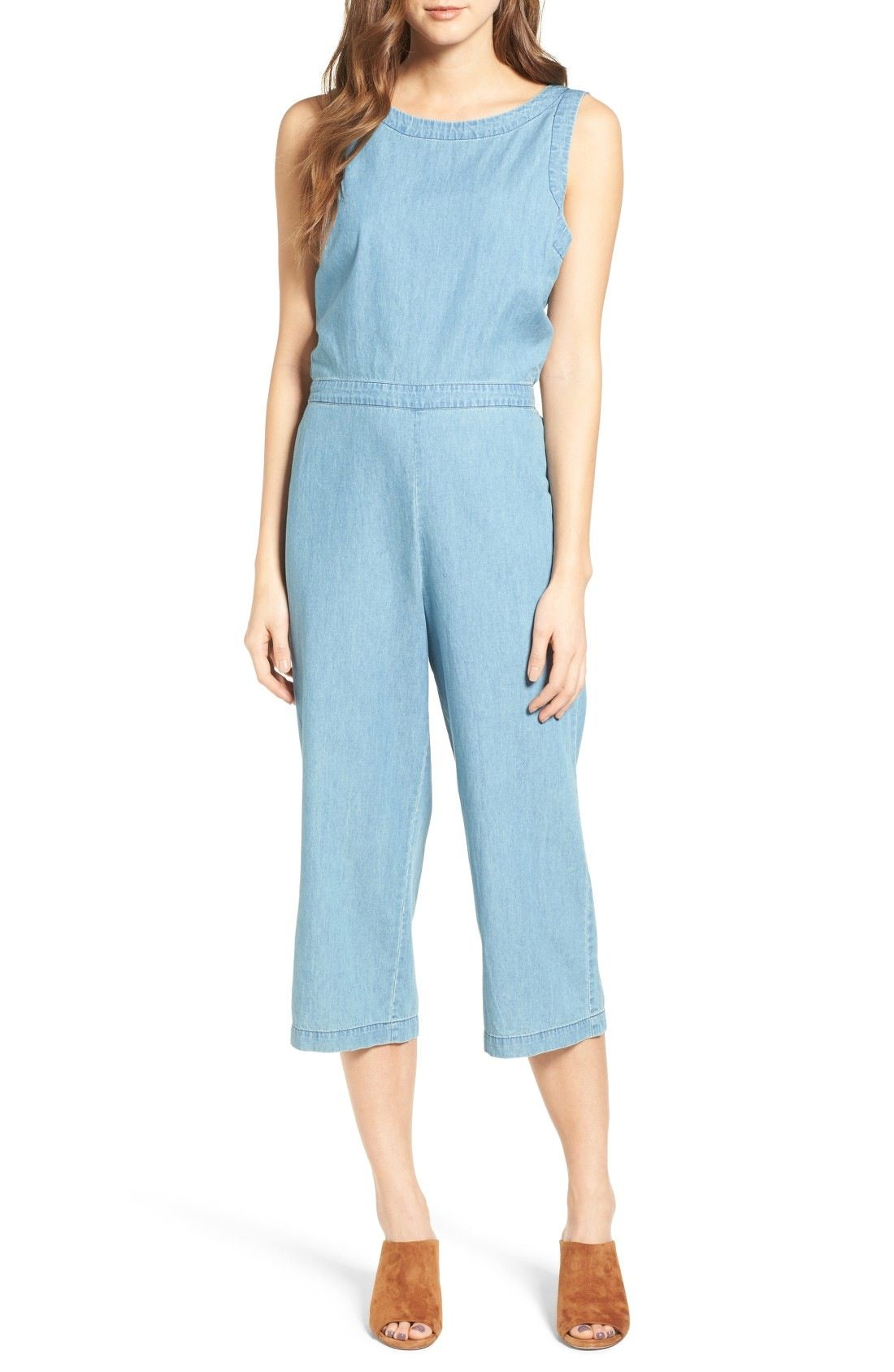a4eebcc8cd27 cupcakes and cashmere Hoffman Crop Chambray Jumpsuit available at   Nordstrom Noches De Cita