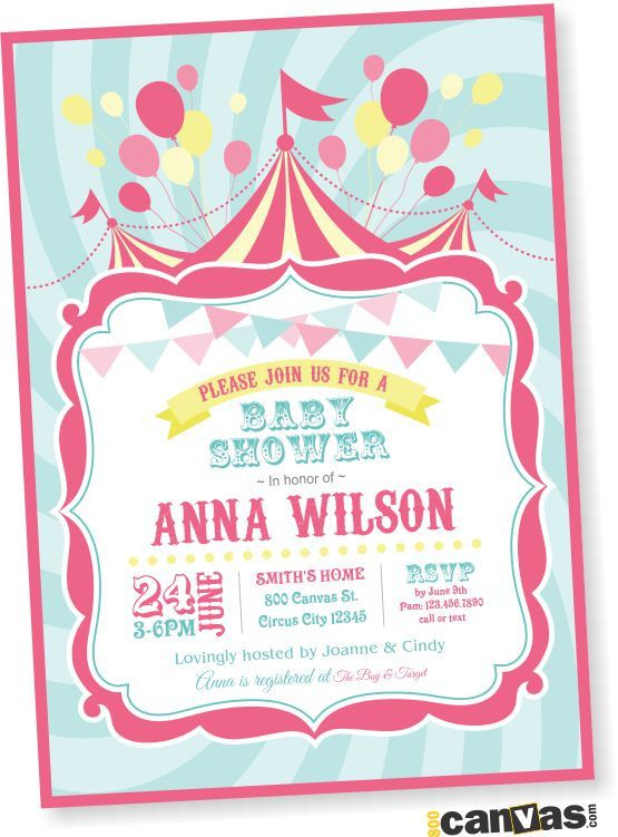 Circus Baby Shower Invitation Carnival Theme