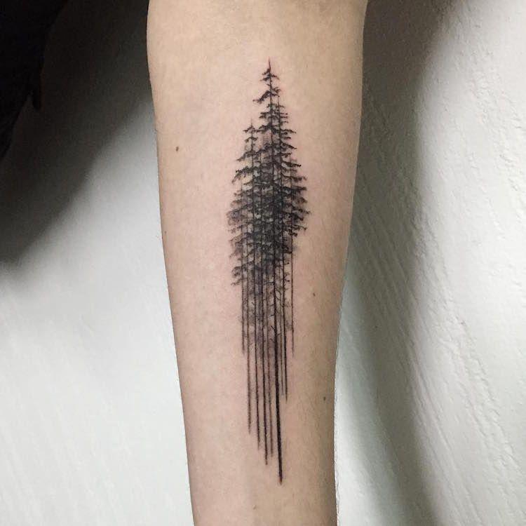 Tatouage Arbre Pin Minimaiste Avant Bras Homme Tattoos For Men