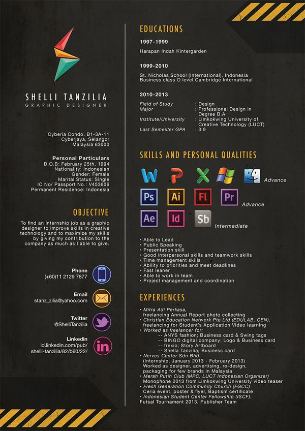 Resume Cv By Shelli Tanzilia Via Behance  Gimme