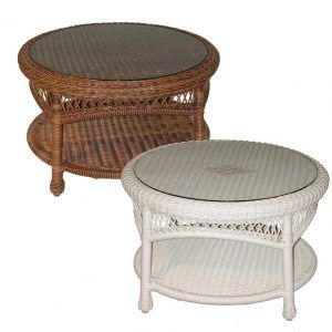 Round Wicker And Glass Coffee Table