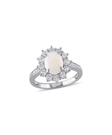 Another great find on #zulily! White Opal & Diamond Oval Ring #zulilyfinds