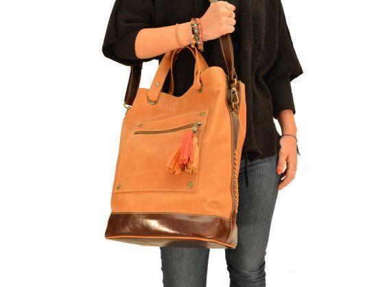 c00840361d32 Leather tote Oversize crossbody bag Large handbag by Percibal ...