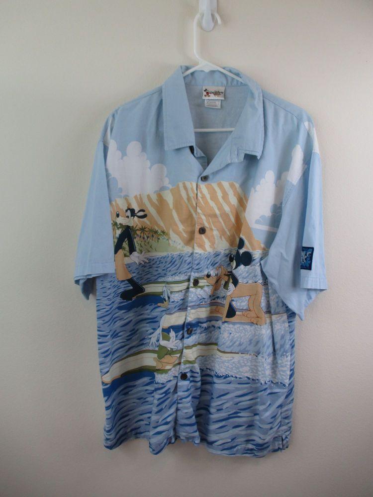 2f7d8c4578c7 DISNEY WORLD Hawaiian Camp Shirt BLUE MICKEY MOUSE Surf HANG LOOSE Sz XL  #Disney #Hawaiian