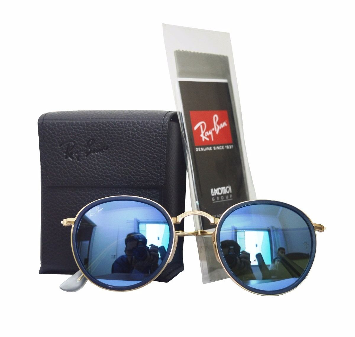 oculos sol ray ban round dobrável lente azul made in italia   2016 ... 806d2a5ea5