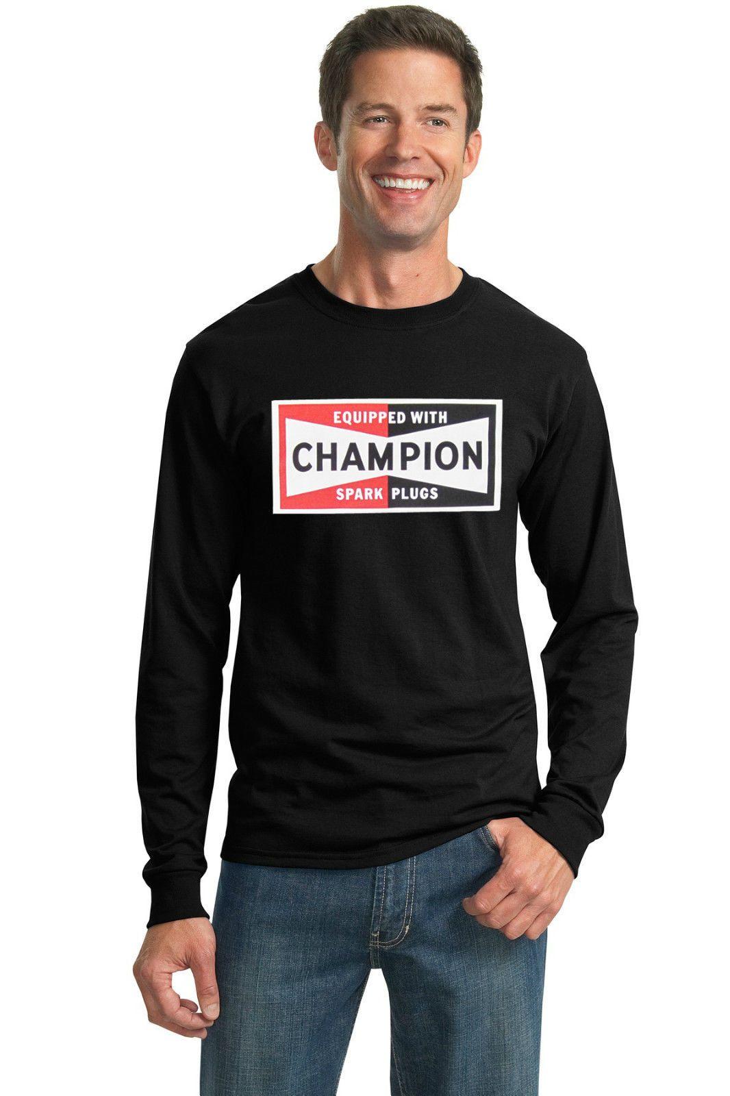 Champion Spark Plugs Retro T-Shirt Jersey Vintage Sign