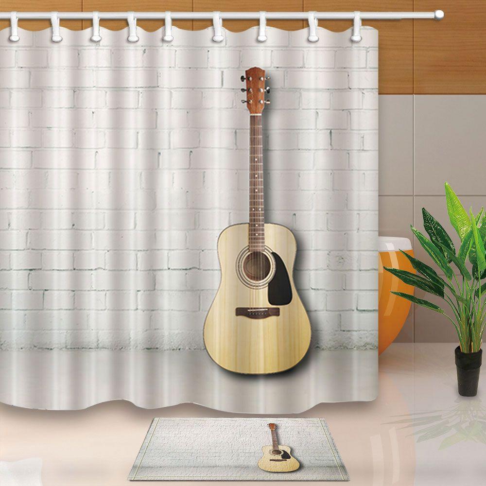 Guitar On White Wall Waterproof Fabric Bathroom Shower Curtain Set ...