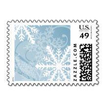 Blue White Snowflakes Winter Postage Stamp