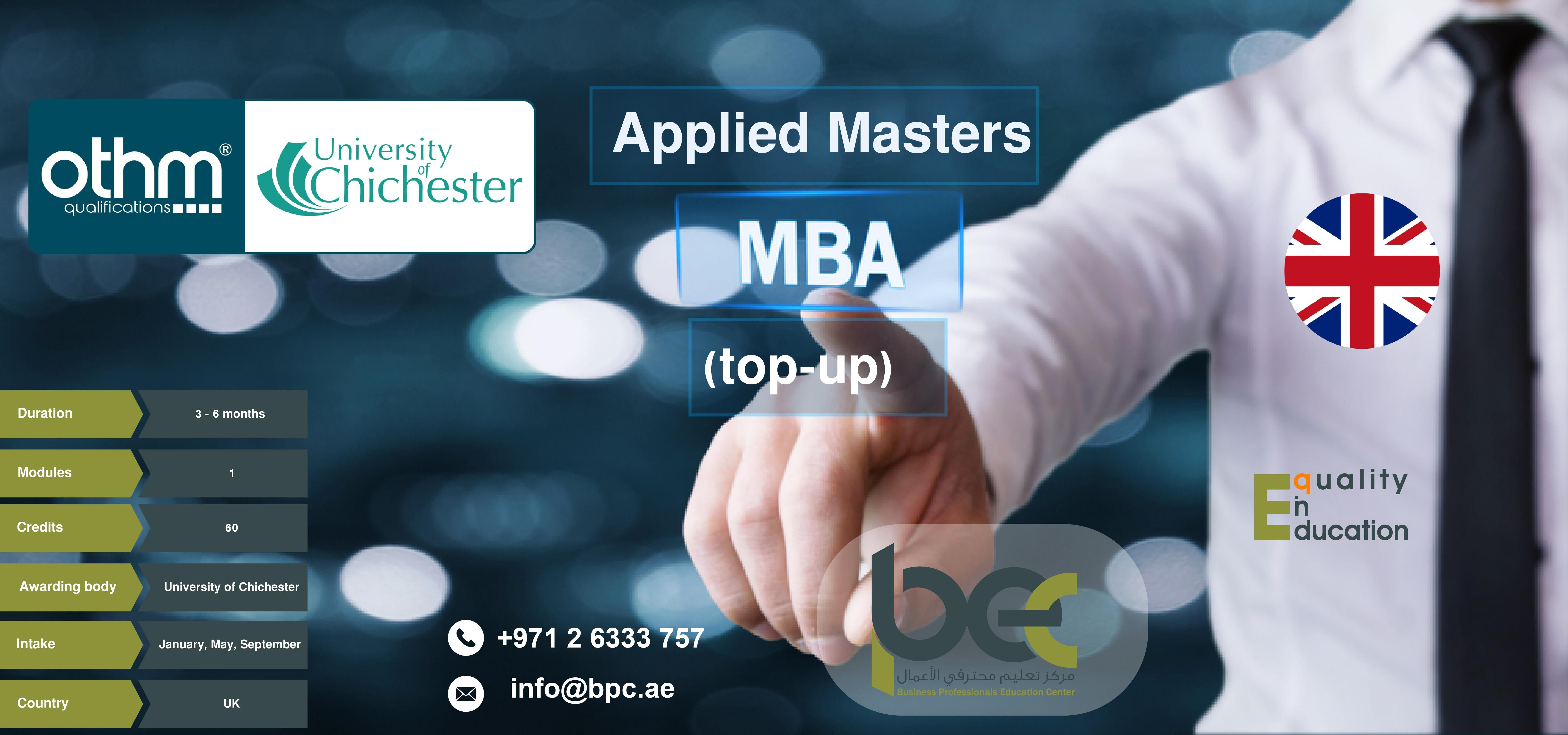 Applied Master In Business Administration Mba Top Up Degree From