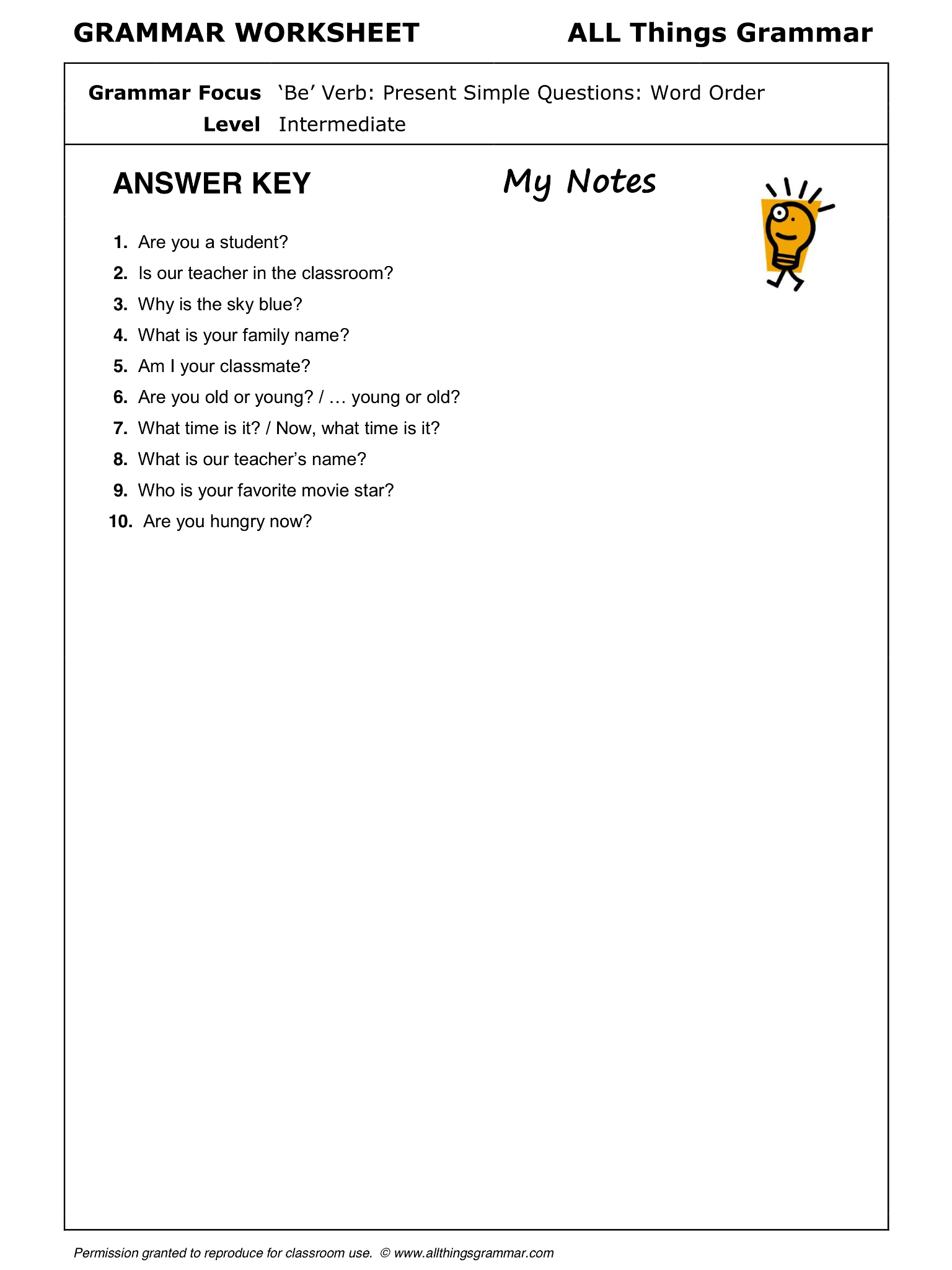 English Grammar Be Verb Present Simple Questions Used