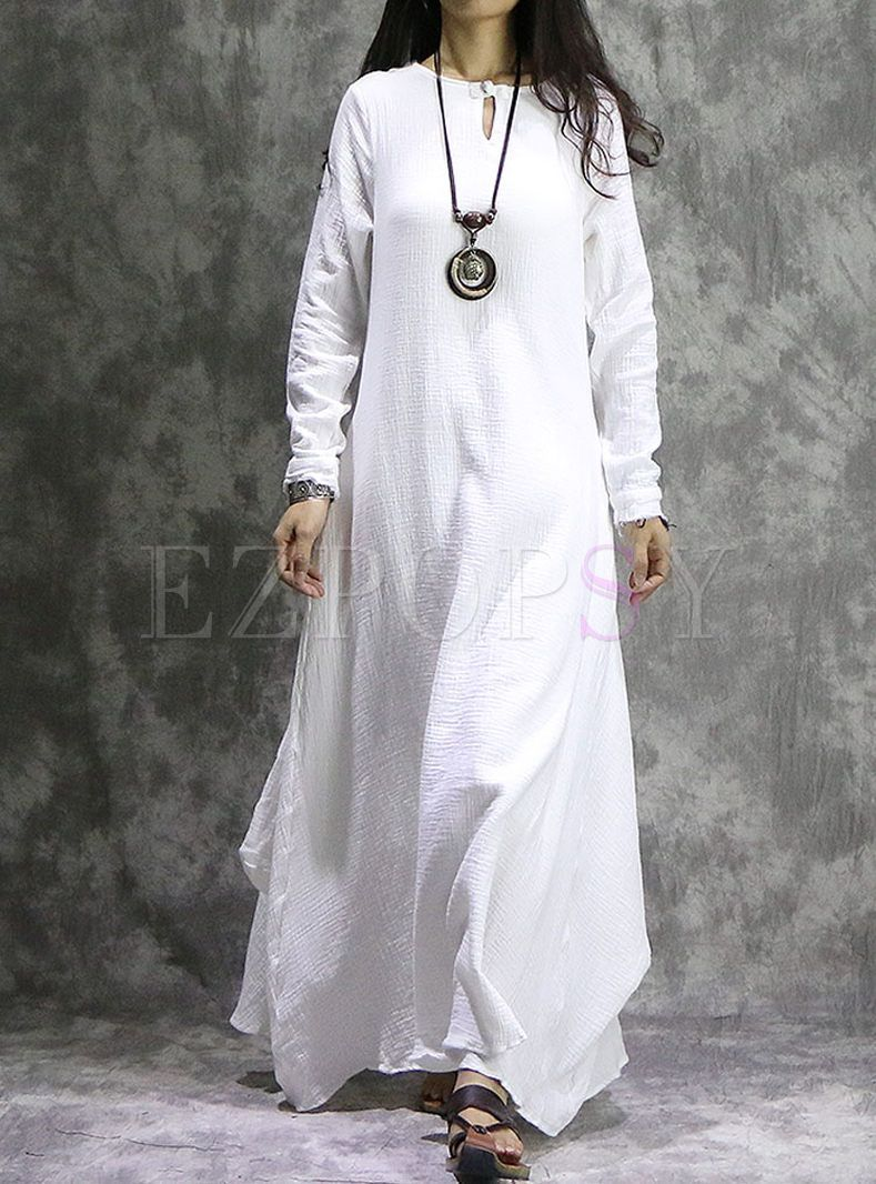 White vintage long sleeve asymmetry hem maxi dress fashion