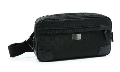 7fd73e31033c46 GUCCI Gucci 'GG' Logo Nylon & Leather Fanny Pack Belt Bag 336672, Black
