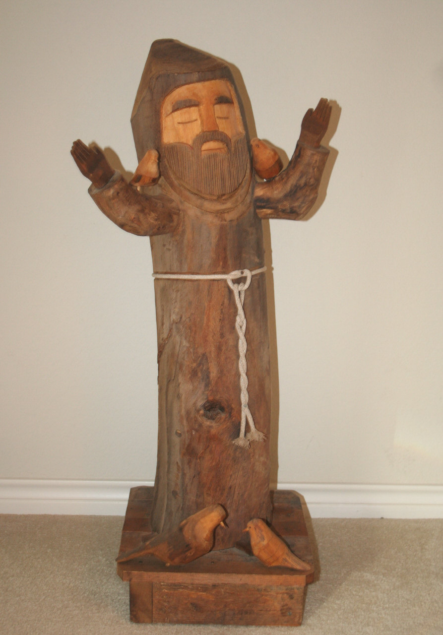 Awesome 3 Ft St Francis Of Assisi Carved Wooden Figure Statue By