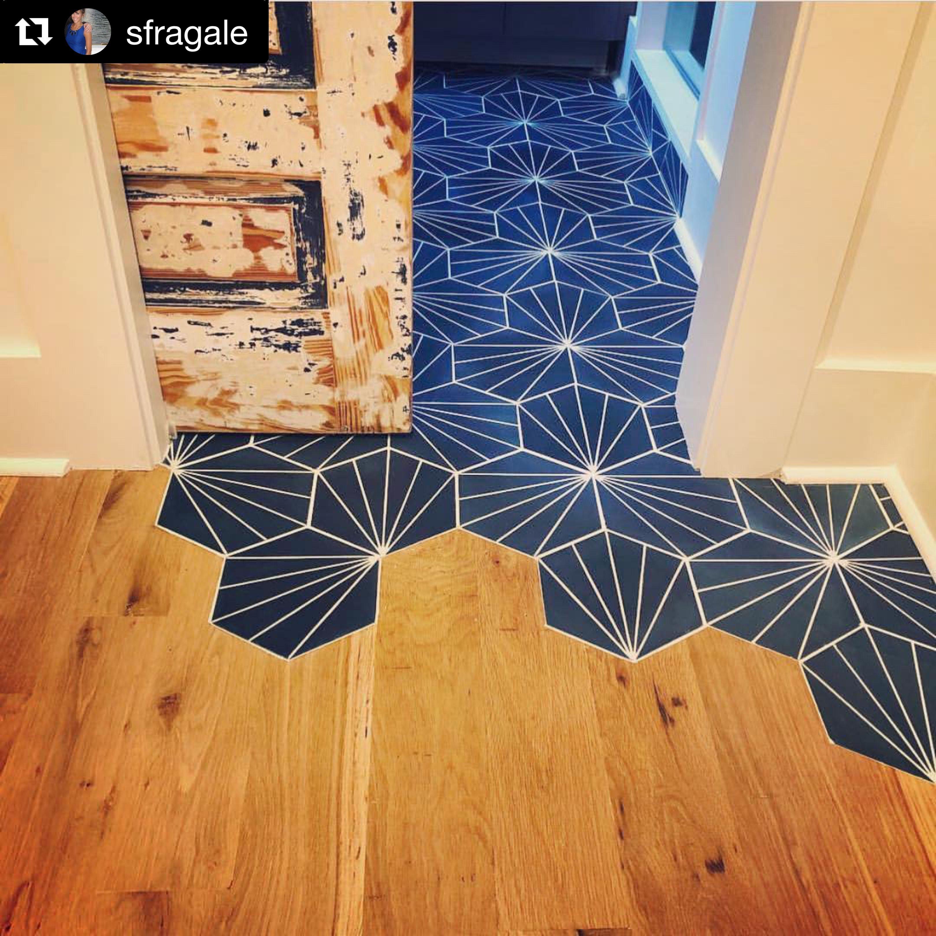 nola blue geometric tile cement tile