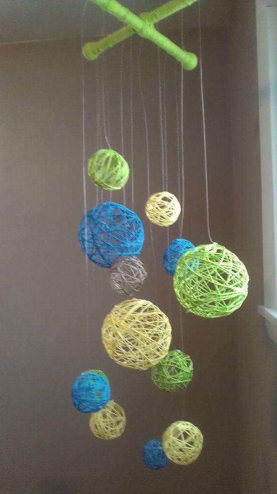 Yellow Blue Amp Green Yarn Ball Baby Mobile