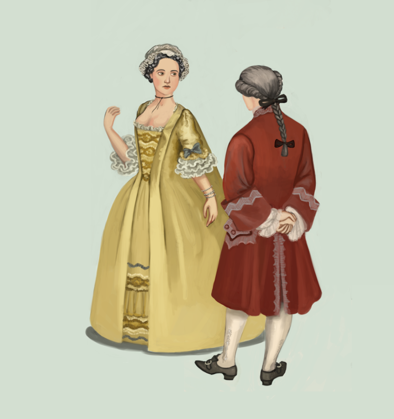 1740's, by Tadarida.deviantart.com. A woman in a yellow robe à la Francaise, pinned over a decorative stomacher and petticoat. This kind of dress evolved from contouche, but was pinned closer to the body. Her companion is showing a variation of a periwig, one with a braid.