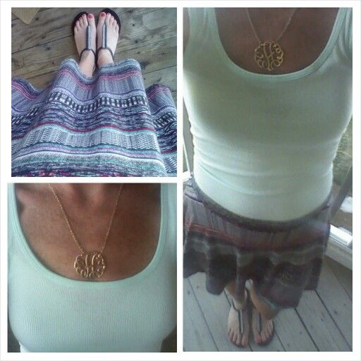 Multi colored skirt, mint green tank, summer outfit