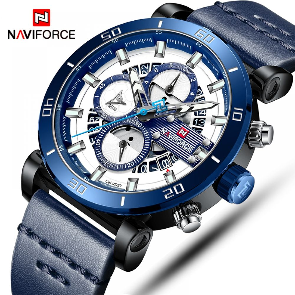 Naviforce Automatic Leather Sport Wrist Watch With Chronograph For Men Watches For Men Mens Sport Watches Mens Fashion Watches