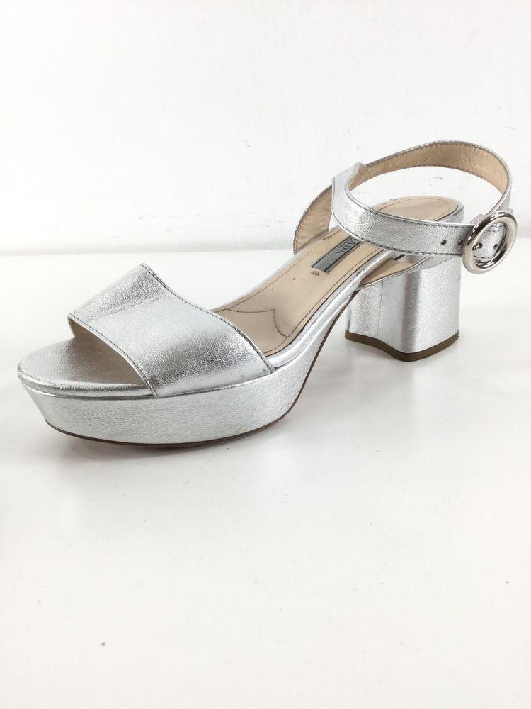 9e0020bf379 1029C Prada Silver Leather Platform Ankle Strap Chunky Heel Sandal Women s  Sz 38  fashion  clothing  shoes  accessories  womensshoes  heels (ebay link)