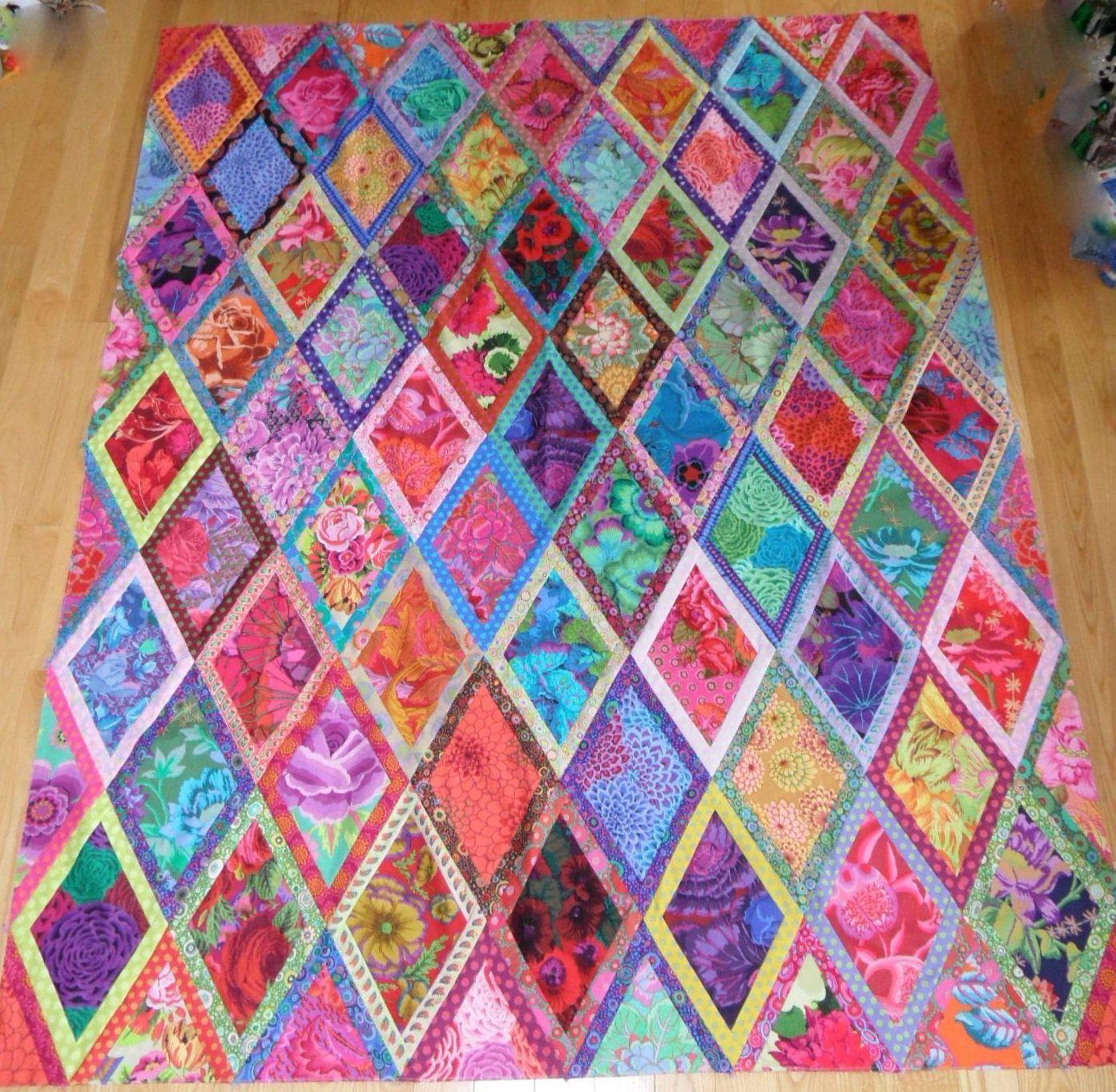 Quilt Patterns for Beginners   Kaffe Fassett Bordered Diamonds ... : kaffe fassett quilt kit - Adamdwight.com