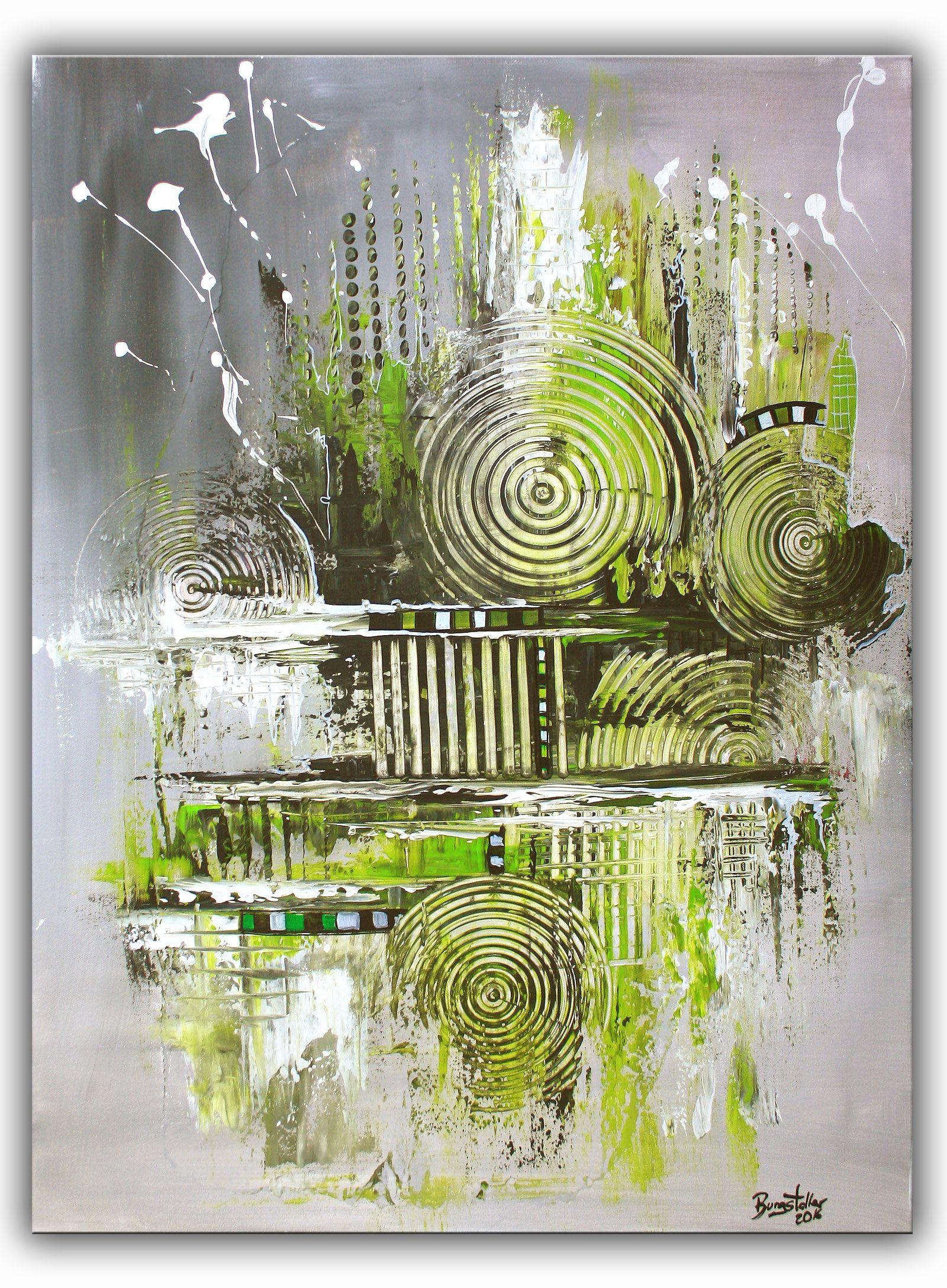 navigation gr n grau acrylbild abstrakt gr ne malerei gem lde abstrakte original bild. Black Bedroom Furniture Sets. Home Design Ideas