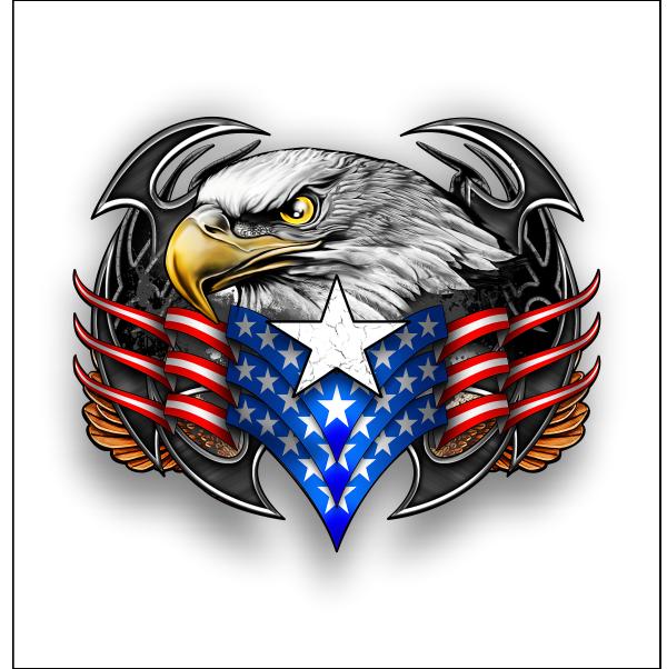 American Tribal Eagle sticker / decal American flag