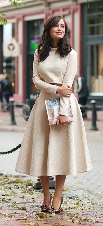 Quilted Crop Top and Midi Skirt Set in Cream | Blogger Inspiration ...