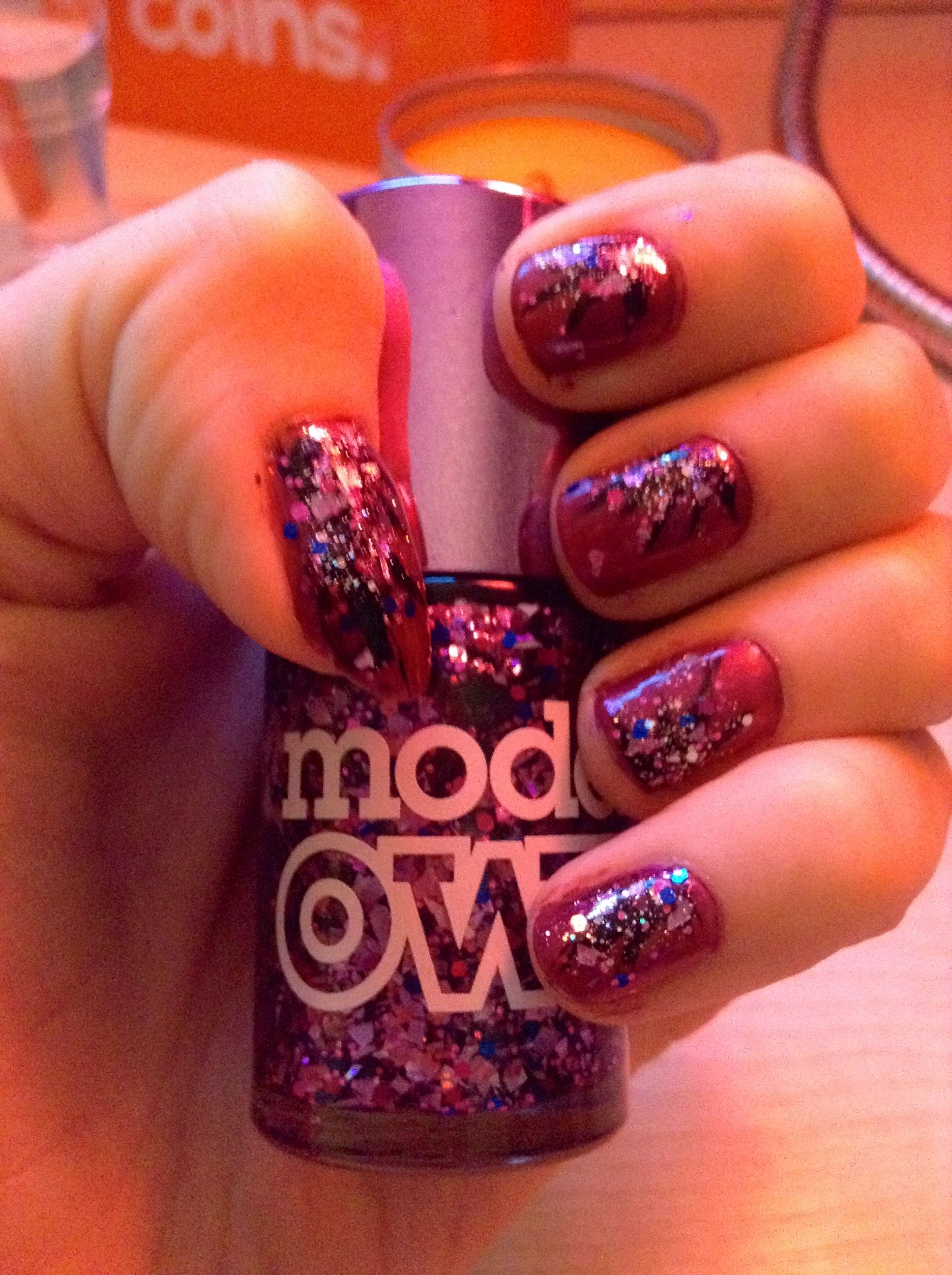 Firework Inspired Nails Models Own Magenta Pearl Boogie Nights