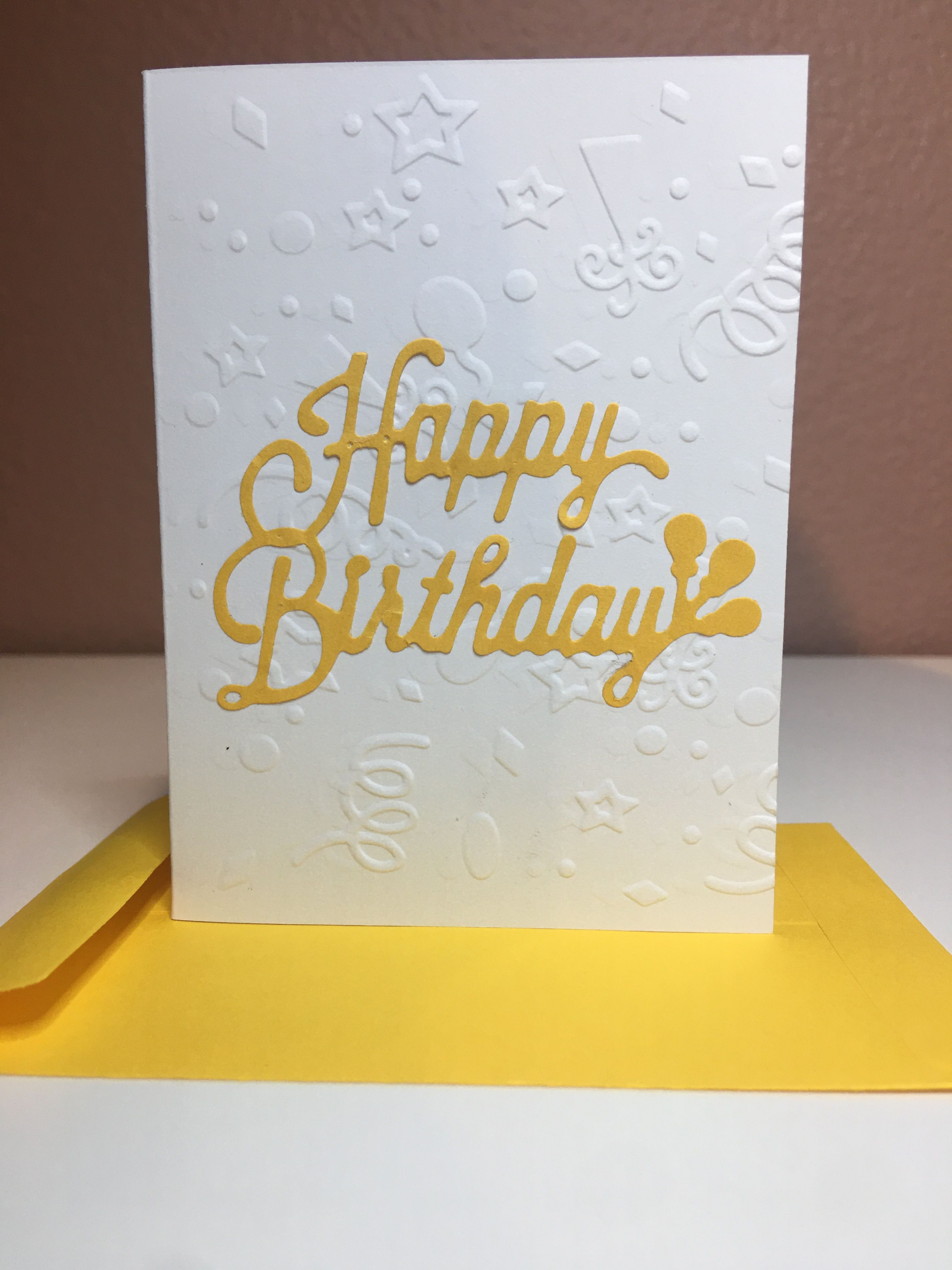 Happy Birthday 9 Greeting Card Yellow Embossed Embossed Cards Cards Handmade Cards
