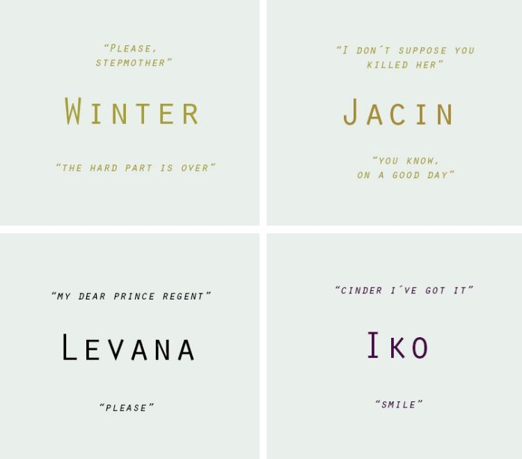 First and last words of tlc characters But to be more technical these aren't correct if you factor in the short stories