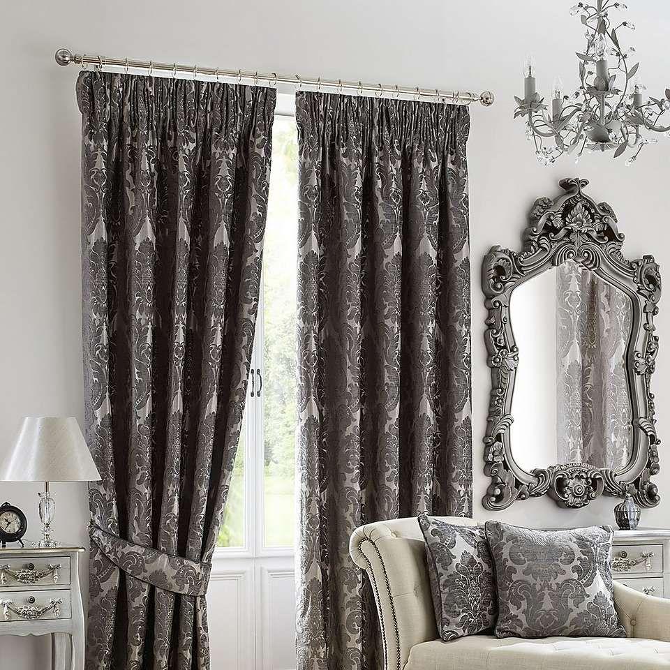 Charcoal Versailles Lined Pencil Pleat Curtains | Dunelm