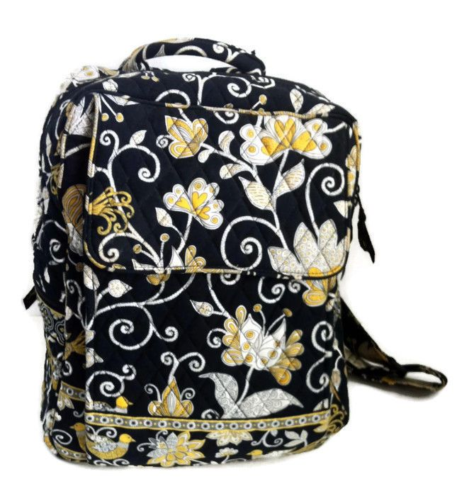 c94916f95ee Vera Bradley Backpack Yellow Bird Retired Black Yellow White Back To School   VeraBradley  BackpackStyle