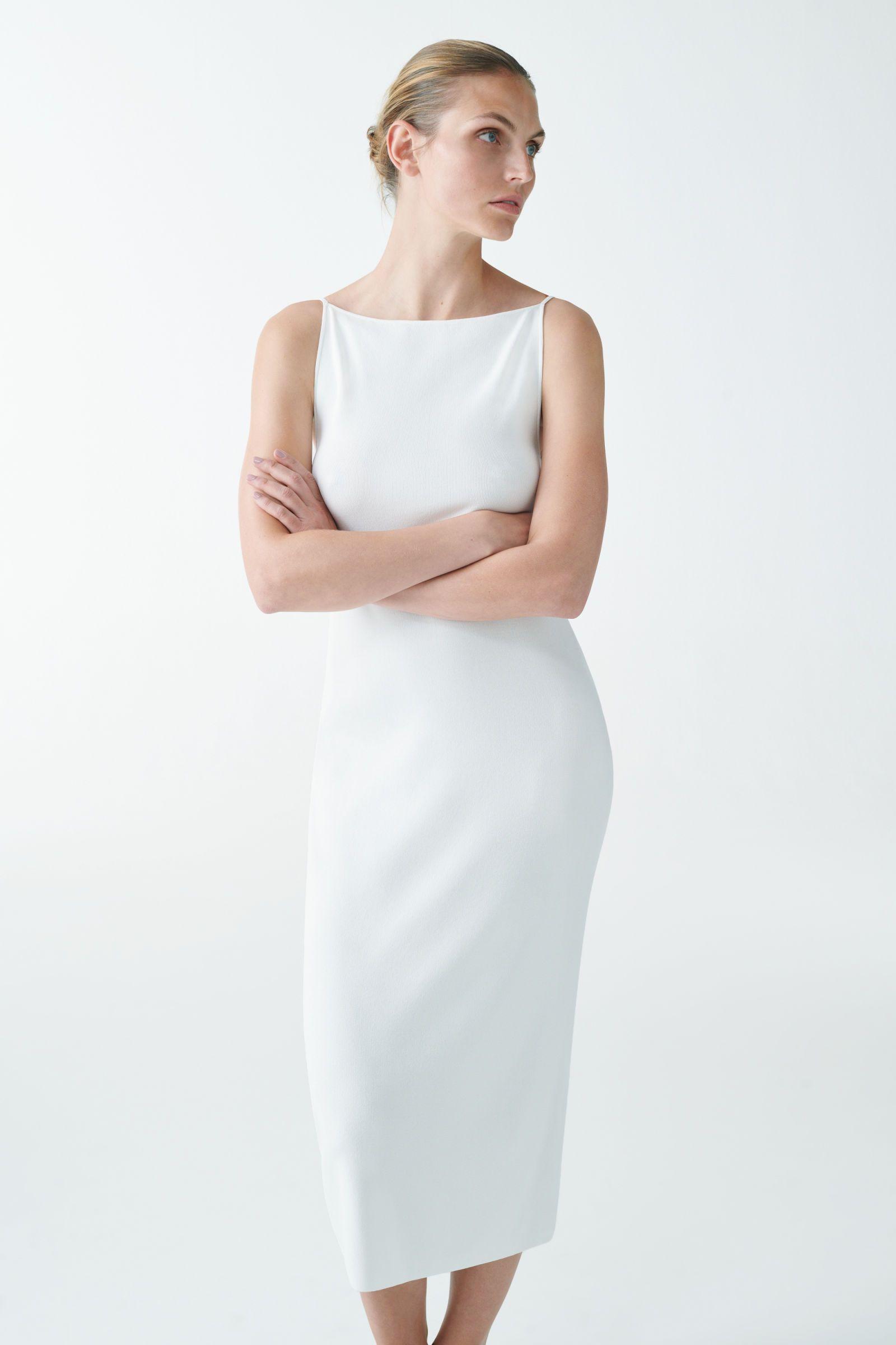 BACKLESS KNITTED SLIP DRESS - White