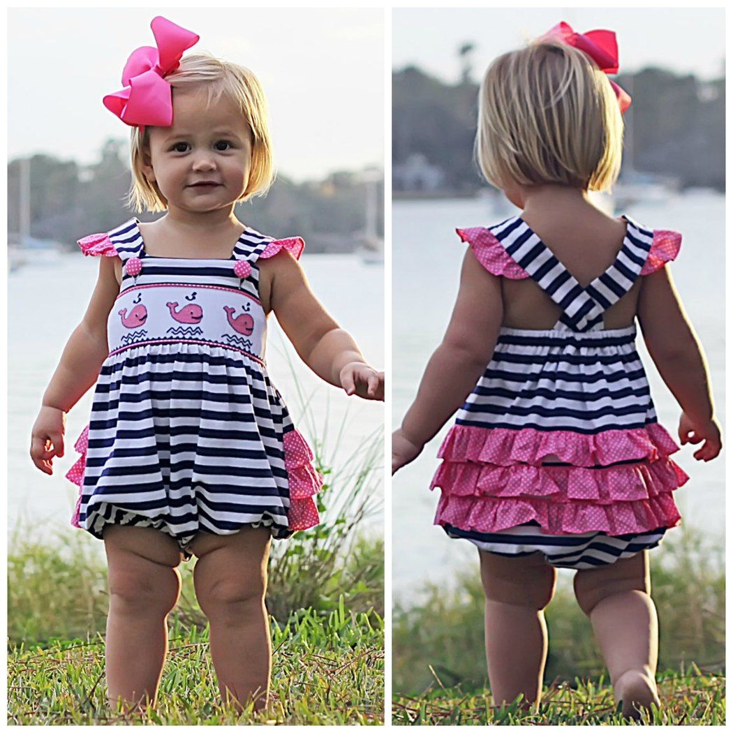 72cfd80679dd Pink Whale Smocked Ruffle Butt Bubble Knit Navy Stripe Brand ...