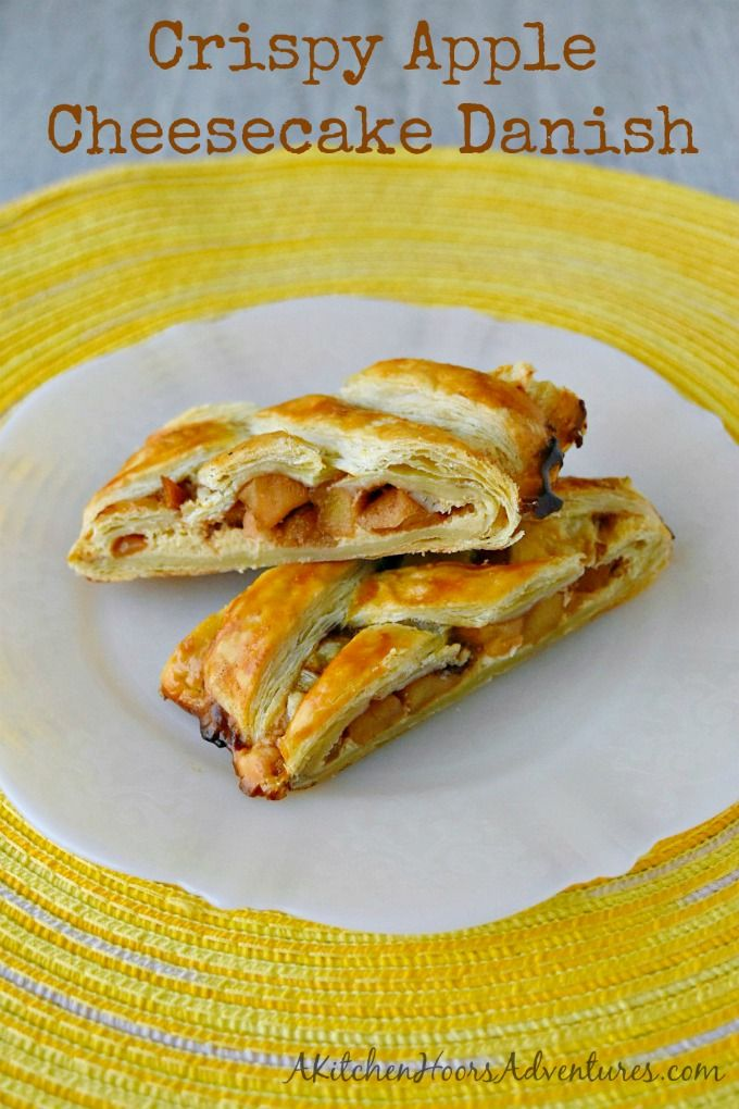 Crispy Lady Alice apples top sweet cheesecake mixture in this #BrunchWeek pastry. Crispy Apple Cheesecake Danish has simple flavors that combine in this perfect, breakfast pastry.