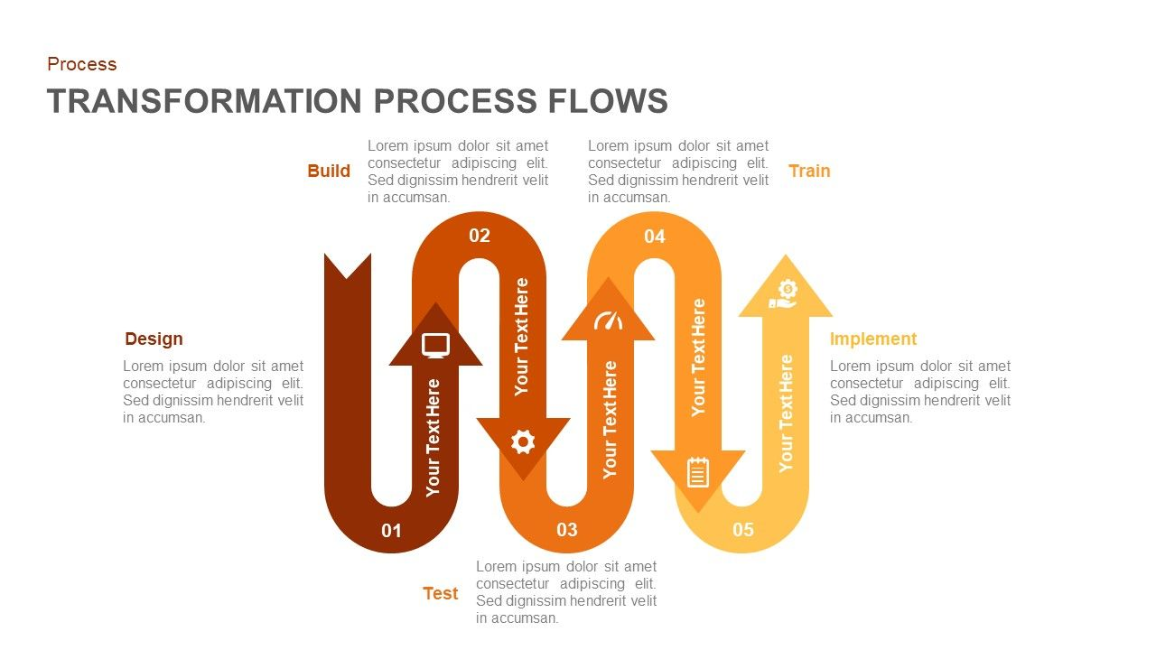 transformation process flow powerpoint template and keynote slide  [ 1280 x 720 Pixel ]