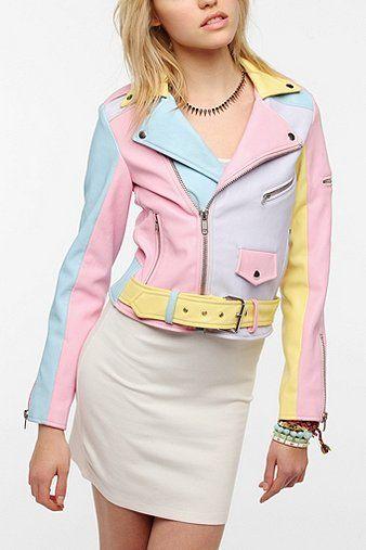 Pretty Little Liars Fashion: Aria S4 Ep14. NEED THIS!  (Pastel Rainbow Faux Leather Moto Jacket)