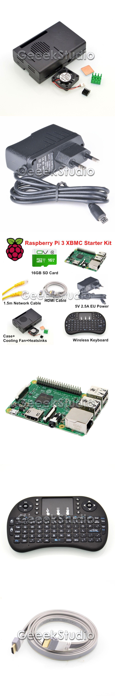 Raspberry Pi 3 XBMC KODI OSMC Media Center Kit RF Remote