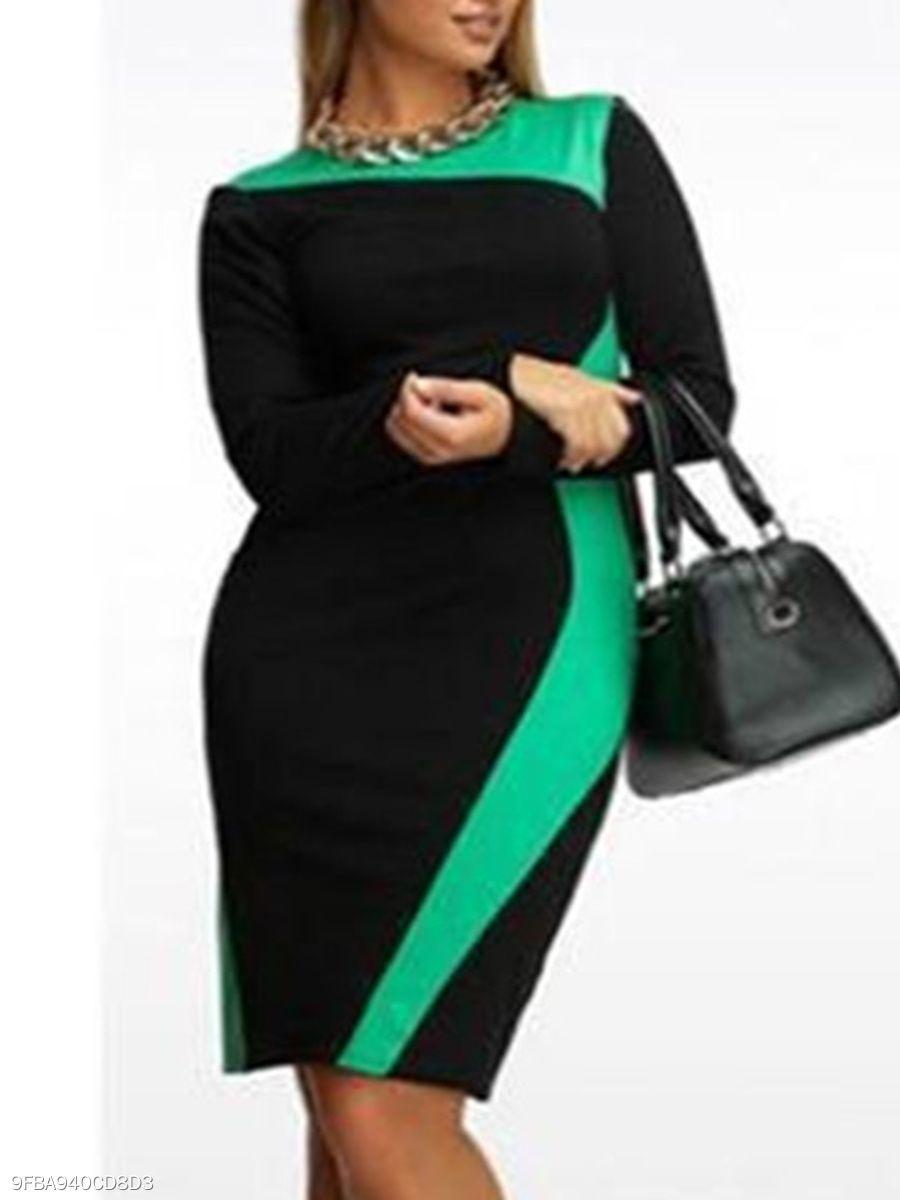 Round Neck Geometric Plus Size Bodycon Dresses #fashionmia ,plus ...