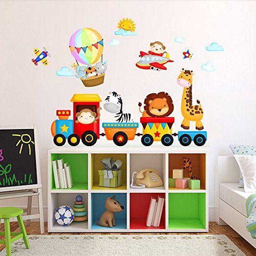 Adesivi murali adesivo wall stickers casa. R00350 Adesivo Murale Per Bambini Wall Art Trenino Della Giungla Misure 120x30 Cm Decorazione Parete Design Stanza Dei Bambini Adesivi Murali Camerette