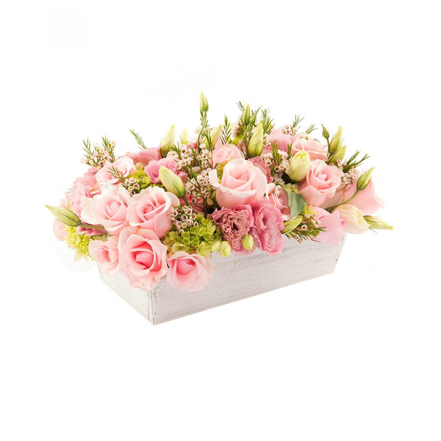 Arreglo Floral Rectangular Con Asa Elaborado De Madera Color